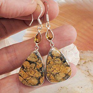 Silver Earrings Jasper/Citrine Quartz Stone